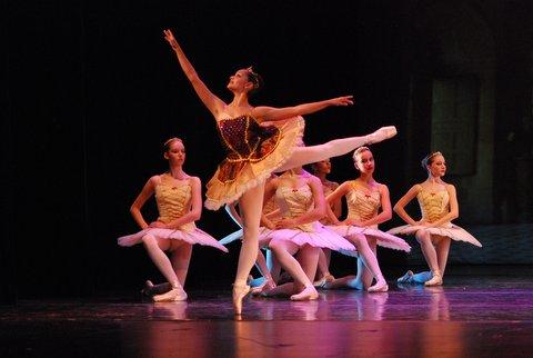ballerina doing an arabesque