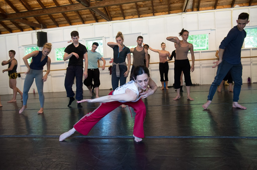 Ami Shulman with participants from the 2011 Contemporary Program of The School at Jacob's Pillow; photo Cherylynn Tsushima, courtesy Jacob's Pillow Dance