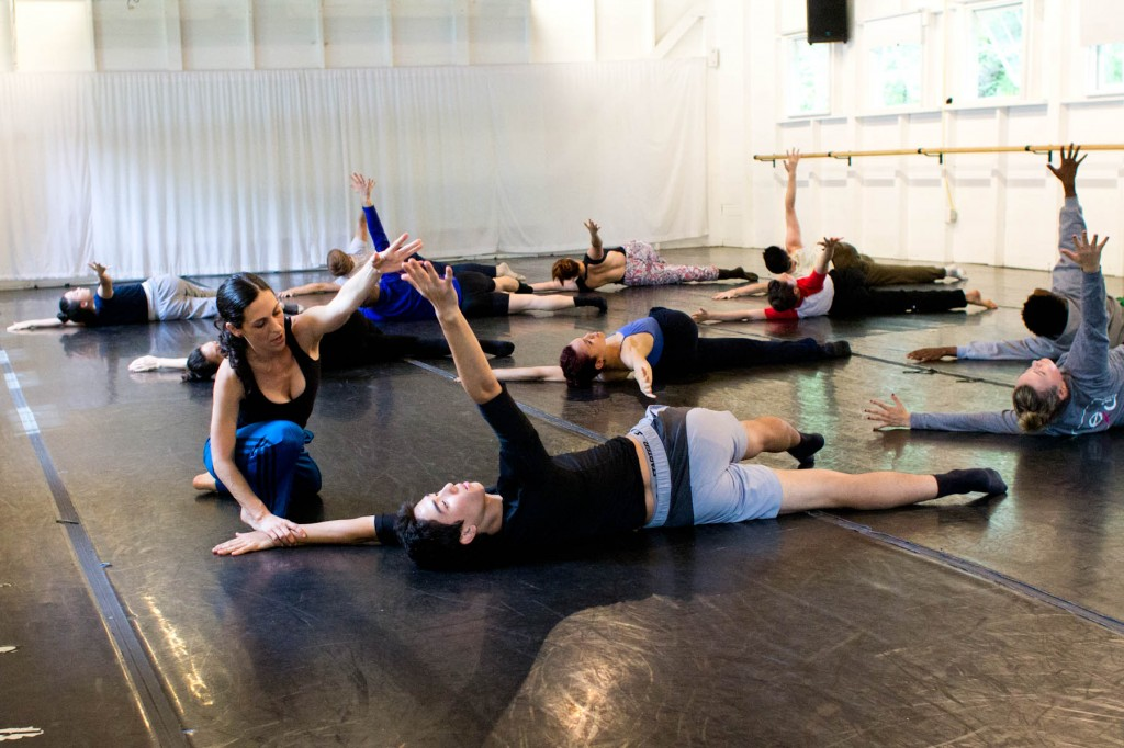 Ami Shulman with participants from the Contemporary Program of The School at Jacob's Pillow; photo Em Watson, courtesy Jacob's Pillow Dance