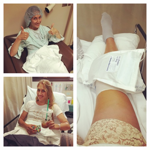 Jessika making the best of surgery.