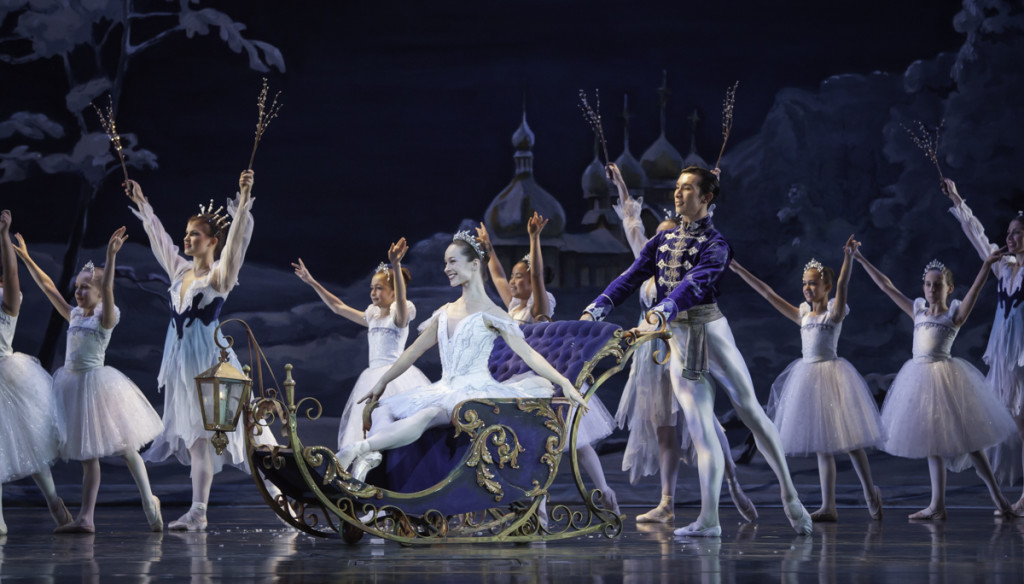 Alessa Rogers and Brandon Nguyen as the Snow Queen and King in Atlanta Ballet's Nutcracker. Photograph by Charlie McCullers.